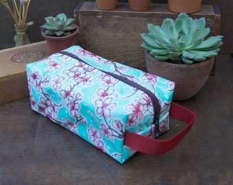 Oilcloth Toiletry Bag Cherry Blossom Blue Dopp Kit