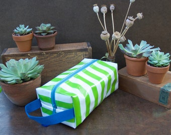 Oilcloth Toiletry Bag Green Stripe Dopp Kit