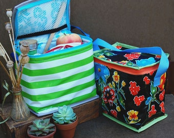 Insulated Oilcloth Lunch Box Made to Order