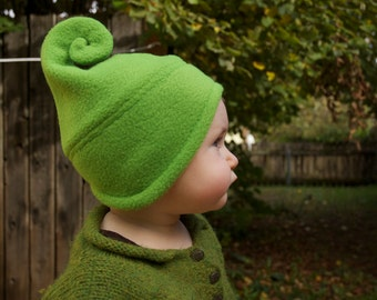 Fleece hat with curl for baby or adult