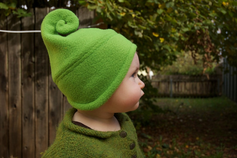 Fleece hat with curl for baby or adult image 0