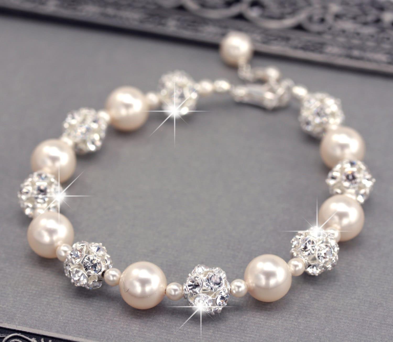 Ivory Pearl Wedding Bracelet Swarovski Pearl And Rhinestone Etsy