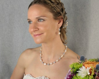Sterling Silver, Genuine Pearl and Rhinestone Wedding Necklace, Freshwater Pearl Bridal Jewelry, Couture Handmade Wedding Jewelry