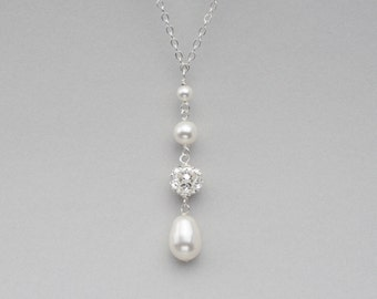 Teardrop Pearl Necklace, Pearl Bridal Jewelry, Pearl and Rhinestone Pendant, Wedding Jewelry for the Bride, White or Ivory Pearls