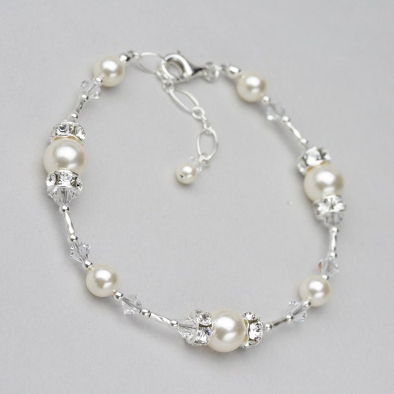 Pearl and Crystal Bracelet Swarovski Wedding Jewelry for the  4ee7900b0d