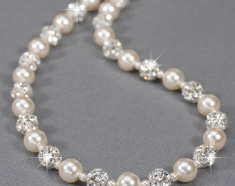 Pearl and Rhinestone Necklace, White or Ivory Pearl Bridal Jewelry, Pearl Necklace for Wedding, Vintage Style Wedding Jewelry