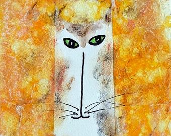 Original Art Yellow Orange Cat
