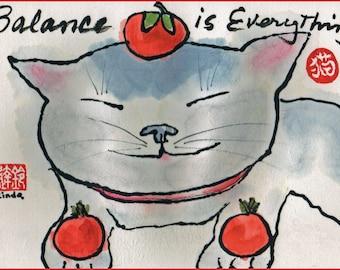 Balance is Everything Etegami Cat Art by Linda Bachrach