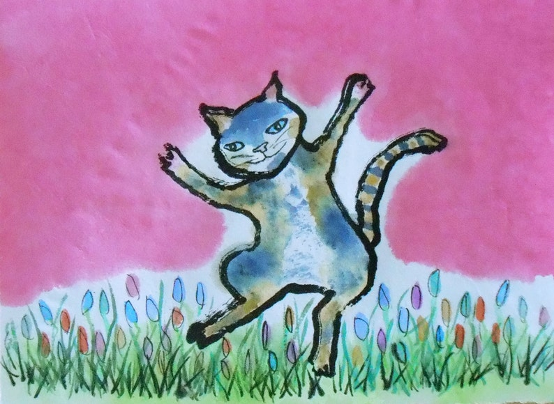 Original Cat Art  Dancing Cat image 0