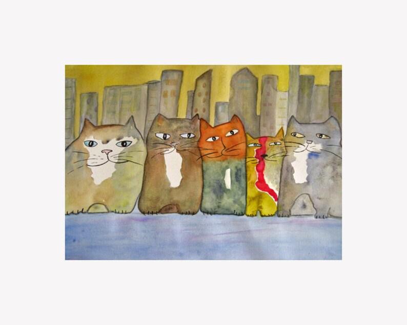 Cat Art Print Uptown Five image 0