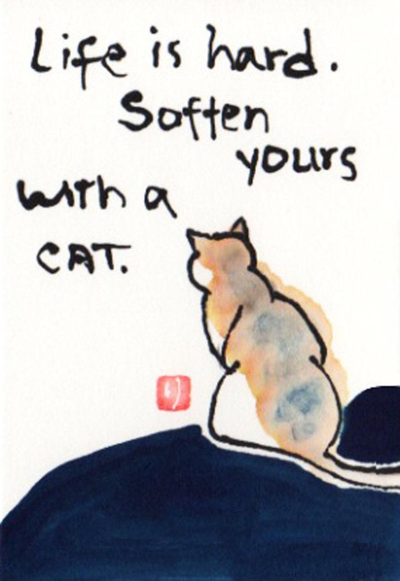 Cat etegami print  Life is Hard... image 0
