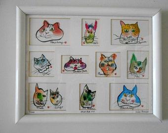 Matted print Street Cats of Honolulu Cat Art by Hawaii Cats