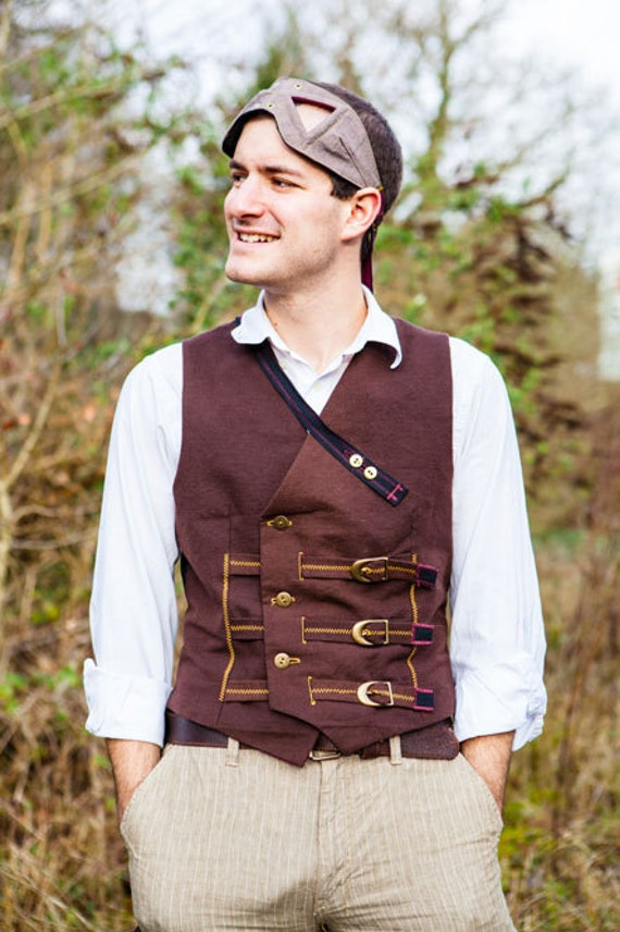 Smart Brown Double Breasted Steampunk Waistcoat in Cotton with Brass Buttons and Two Watch Pockets- The Watchman's Waistcoat xt0Rg
