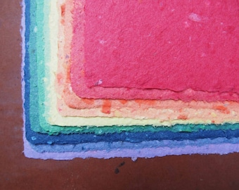 Handmade Recycled Paper - Rainbow Pack Large