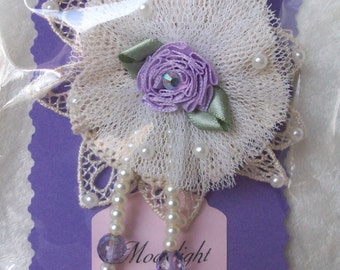 ivory lace & tulle flower pin lavender