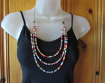3 Strand long drop necklace