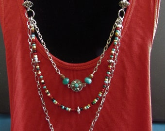 Western style multistrand beaded necklace