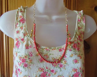 Coral Beaded necklace with drop embellishments