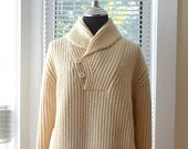 Vintage Fisherman Sweater - Ivory Cable Knit - Shawl Collar with Front Pocket Pouch - Fall Winter Style - Mens xs s - Women 39 s s m