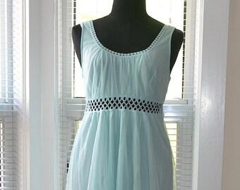 Vintage 60s Mod - Grecian Honeymoon - Pale Blue Full Length Nightgown - Retro Boho Style - s