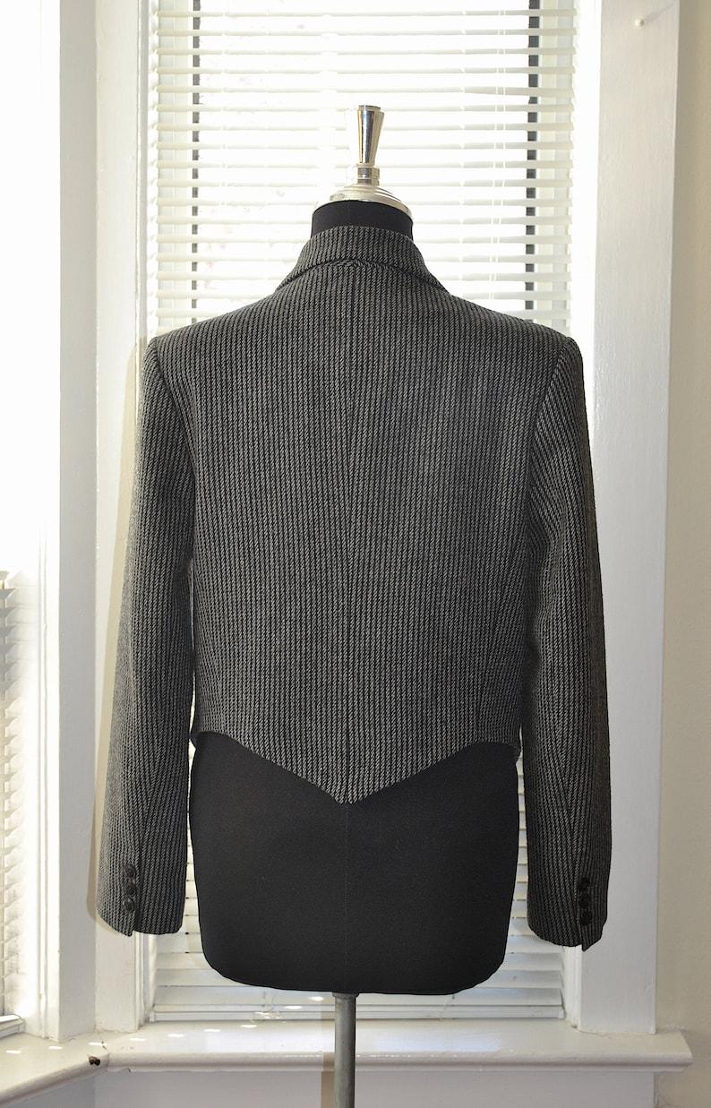 m Vintage 80s Jacket Girls Brigade Grey Wool Pinstripe Blazer Cropped Length