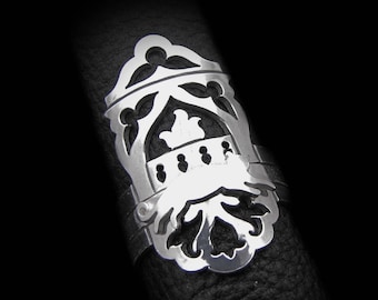 Sterling Silver Stacking Rings Set - Sleepy Cat Ornate Rug and Gothic Fireplace - WINTER NIGHTS