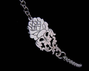 Sterling Silver Chain Necklace - Small Dainty Short Floral Choker - THE ENCHANTED ROSE