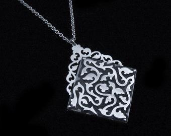 Sterling Silver Locket Necklace - Floral Meditation Maze Pendant - LABYRINTH