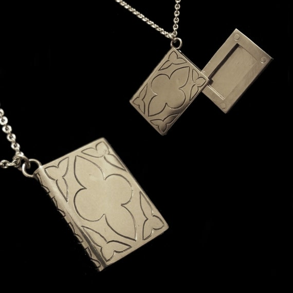 Sterling Silver Book Locket Free Name Engraved