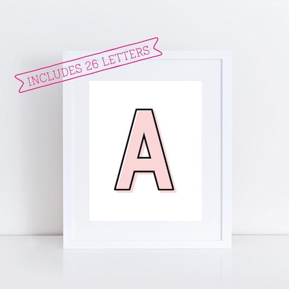 Printable Pink Alphabet Letters Printable Pink Abcs Alphabet Etsy