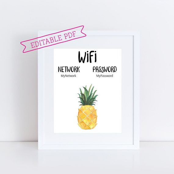 picture regarding Printable Wifi Sign identify Editable Pineapple Wifi Indicator, Printable Wifi Pword and Community Indication, Yellow Visitor Place Indicator, Instantaneous Down load, Do it yourself Wifi PDF