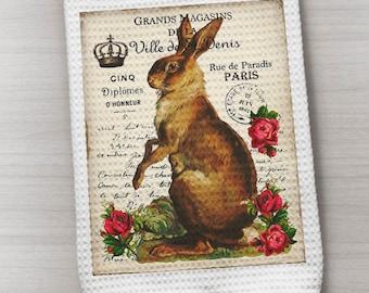 French Rabbit Towel, Waffle Weave Towel, Kitchen Towel, Bunny Towel, Easter Rabbit Towel, Brown Rabbit Towel, French Inspired Towel