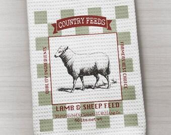 Sheep Towel, Farmhouse Towel, Waffle Weave Towel, Kitchen Towel, Feed Sack Inspired Towel, Country Towel, Farm Towel, Lamb Towel