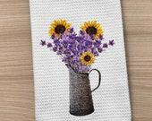 Kitchen Towel, Lavender Towel, Sunflower Towel, Farm Towel, Waffle Weave Towel, Country Towel, Hand Towel, Dish Towel, Farm Home Towel