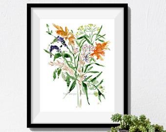 art print flower bouquet, bouquet watercolor print, fall bouquet print, flowers art print, botanical art print, floral art, thejoyofcolor