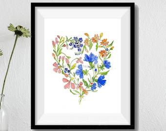 Floral heart print, wild flowers print, watercolor print, Valentine's day, botanical floral art, mothers day, anniversary, floral art