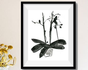 Black Orchid art print, Orchid ink print, Orchid plant drawing,  Sumi orchid drawing, Japanese inspired art, modern home, art, thejoyofcolor