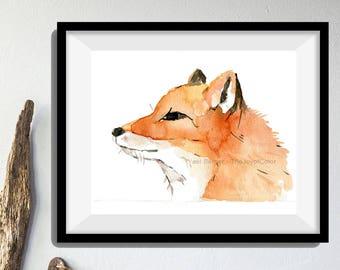 fox print, Young Fox art print, fox watercolor print, nursery decor, red fox print, animal art, wild life art,  woodland art, fox portrait