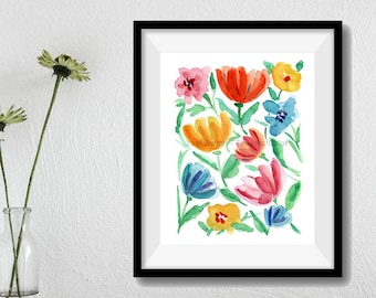 Abstract floral art print, Flowers watercolor print, home decor, colorful flowers print, modern floral art, mothers day, contemporary tloral
