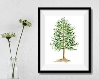 Pine Tree art print, pine tree watercolor print, ever green tree art, Christmas art, woodland art print, green, greenery decor, holiday art