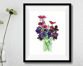 Anemone bouquet Print, Anemones art print, Still Life, watercolor print, mothers day, Purple, Fuchsia, Green,  floral art, home decor