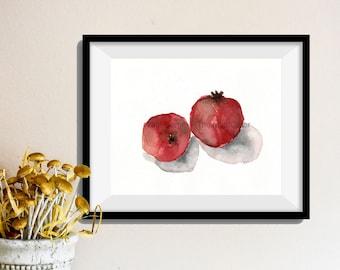 pomegranates art print No. 4, Pomegranates watercolor, Minimalist art, kitchen art, Still life art, Garnet red,  fruit watercolor, art print