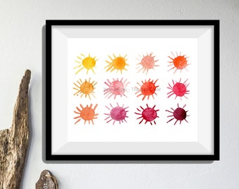 Sun art print, modern watercolor print, summer colors, Suns art print, fun art print, minimalist art, watercolor sun, bright warm colors art