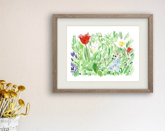 art print spring garden, watercolor painting, spring bloom art, Fresh floral print, mothers day, home decor, garden print, garden flowers