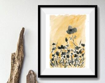 Poppies field art print, Sunny Poppies field print, poppies watercolor print, Mustard, black,  landscape, modern art, poppies illustration