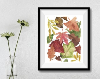 Autumn Leaves print, Leaves art print, Indian Summer art, fall leaves watercolor, Thanksgiving decor, fall colors, fall leaves print