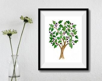 Fig Tree art print, watercolor print fig tree, Folk art inspired, green, purple, Mediterranean art, mountain of spices, fig tree art