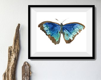 Butterfly art print/ Blue Turquoise butterfly print/ Print of watercolor/ nursery decor/ Butterfly art/ Nature art/ thejoyofcolor