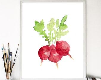 art print Small Radishes, small radish watercolor, red and green, farmer market, kitchen art, still life, vegetable art, limited edition