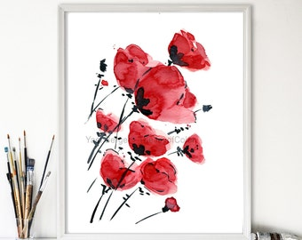 Poppies field on a windy day, poppies art print, watercolor print Poppies, valentine gift, anniversary, mothers day, Red, Black